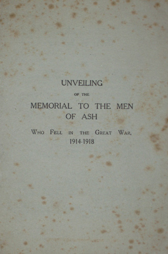 Order of Service for the unveiling of Ash War Memorial